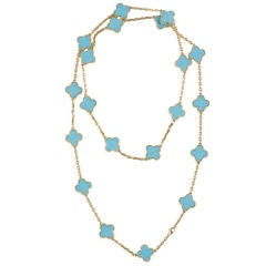 VAN CLEEF & ARPELS  Gold Turquoise Alhambra Necklace