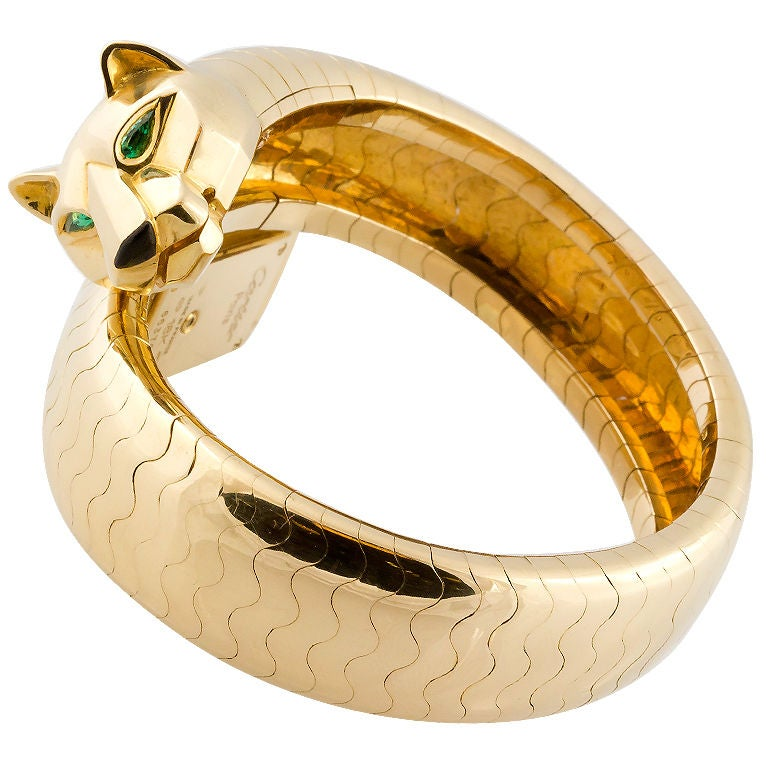 Cartier Lady's Yellow Gold and Emerald Panther Lakarda Flexible Bangle Watch For Sale