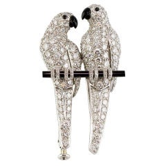 CARTIER Diamond Onyx Platinum Love Bird Brooch