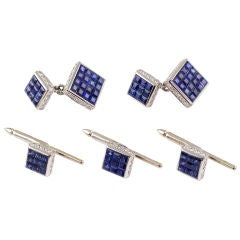 Aletto Brothers Invisible Set Sapphire Diamond Platinum Stud Set
