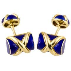 TIFFANY & CO SCHLUMBERGER Blue Enamel Cufflinks