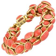Seaman Schepps Coral Gold Link Bracelet