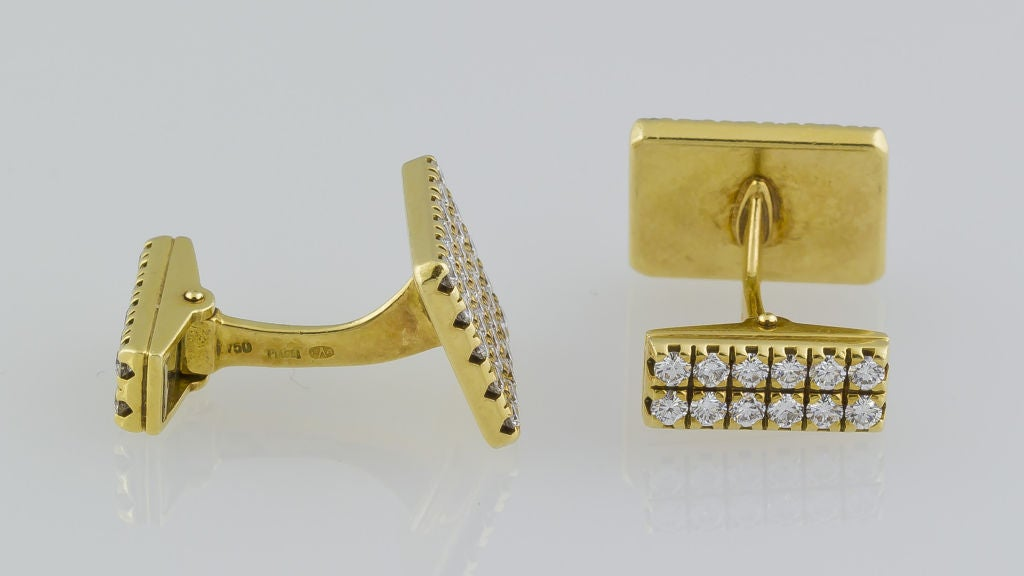 Men's PIAGET Gold 3.00 Carat Pave Diamond Cufflinks For Sale