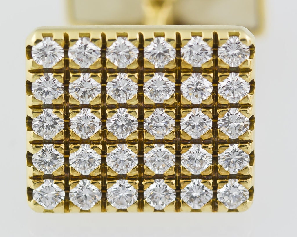 PIAGET Gold 3.00 Carat Pave Diamond Cufflinks For Sale 2