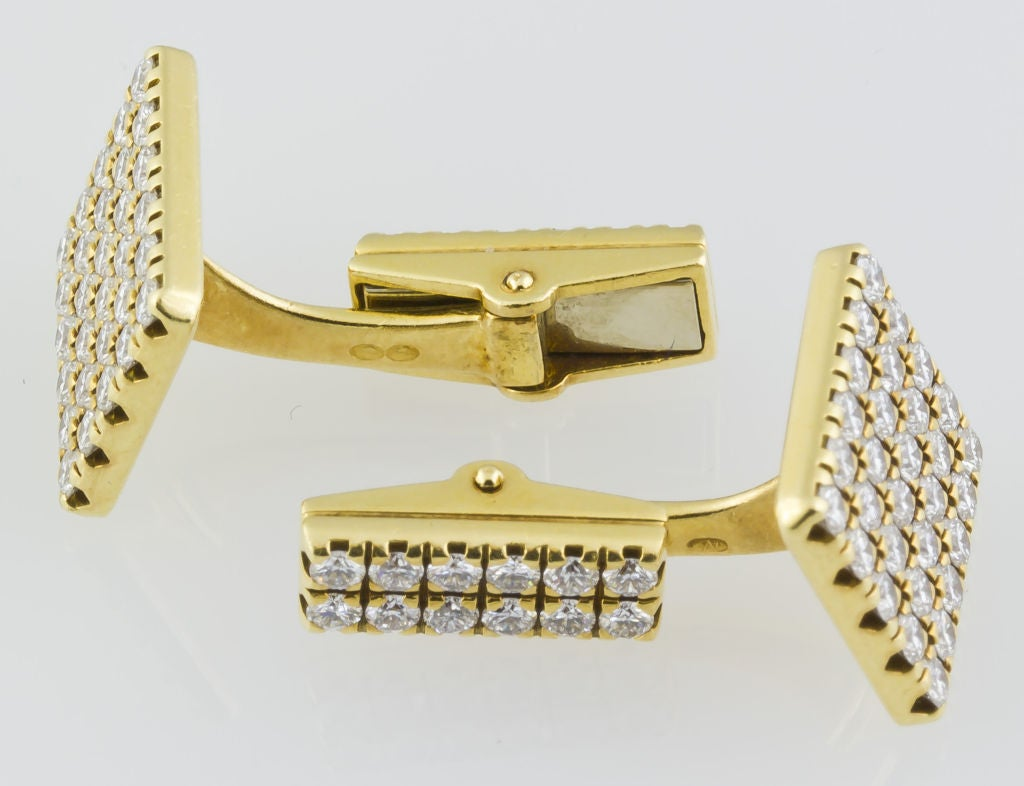 PIAGET Gold 3.00 Carat Pave Diamond Cufflinks 3