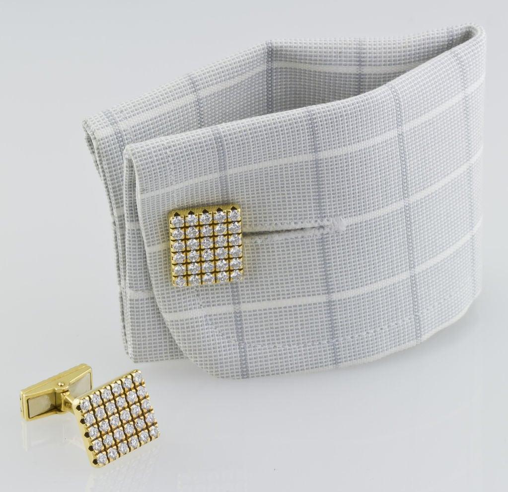 PIAGET Gold 3.00 Carat Pave Diamond Cufflinks 4