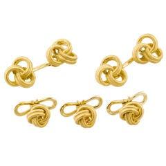 BUCCELLATI Gold Knot Cufflinks and 3 Studs Set