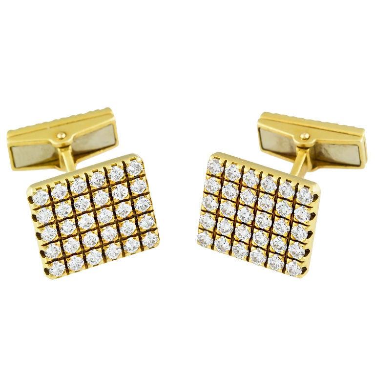 PIAGET Gold 3.00 Carat Pave Diamond Cufflinks