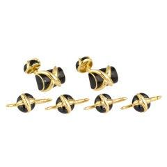 TIFFANY & CO. SCHLUMBERGER Enamel Gold Cufflinks Studs Set