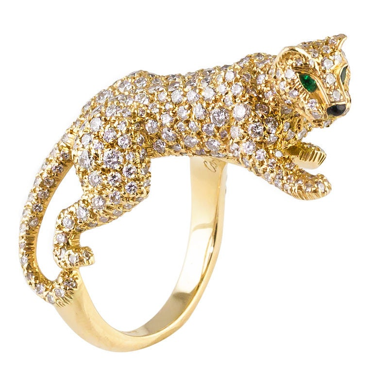 Cartier Panthere Pave Diamond Emerald Onyx Gold Ring At
