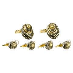 DAVID WEBB Gold Enamel Shell Cufflinks 4 Stud Set