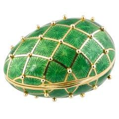 TIFFANY & CO Green Enamel Studded Gold Egg Pill Box