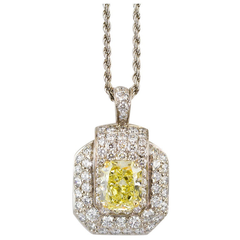 graff fancy yellow pendant necklace at 1stdibs