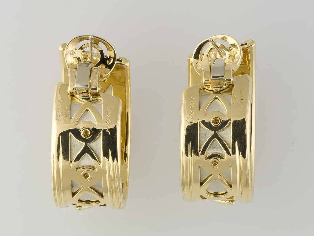 Cartier White Yellow Gold Panther Hoop Earrings 2
