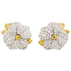 TIFFANY & CO. French Fancy Diamond Gold Flower Earrings