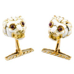 DAVID WEBB Gold Enamel Lion Head Cufflinks