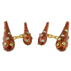 TIFFANY SCHLUMBERGER Gold Enamel Turquoise Cufflinks