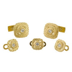 BUCCELLATI Gold Diamond Cufflink Stud Set