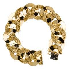 George L'Enfant French 1960's Gold Braided Curb Link Bracelet