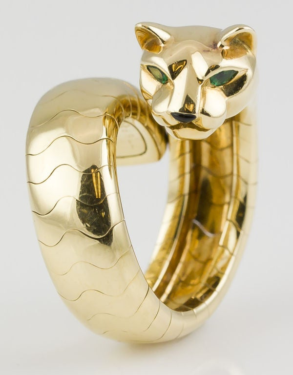 Cartier Panthere Emerald Onyx Gold Flexible Ring At 1stdibs