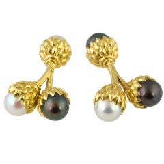 TIFFANY SCHLUMBERGER  Pearl and Gold Double Acorn Cufflinks