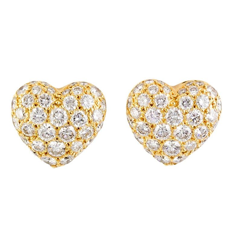 Cartier Diamond Gold Heart Shaped Earrings For Sale At 1stdibs