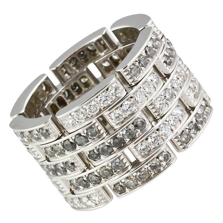 CARTIER Diamond Maillon Panthere 5 Row White Gold Band 1