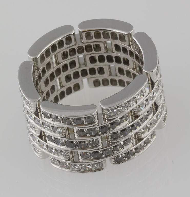 CARTIER Diamond Maillon Panthere 5 Row White Gold Band 3