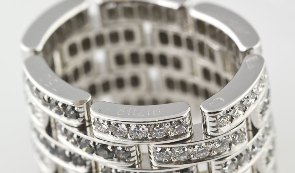 CARTIER Diamond Maillon Panthere 5 Row White Gold Band 6