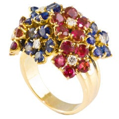 VAN CLEEF & ARPELS Gold Multi-Gem Flower Cluster Ring