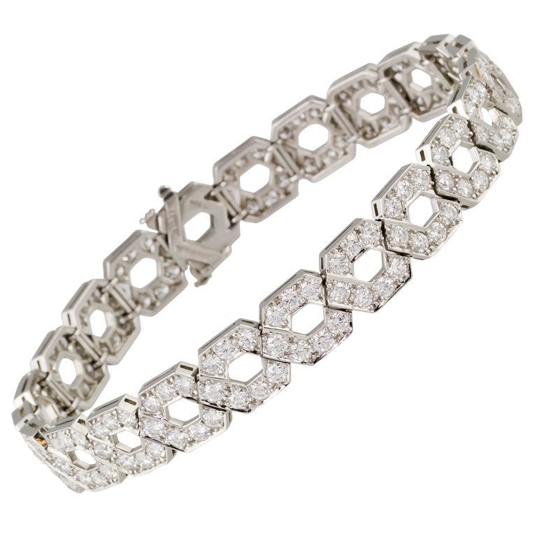 TIFFANY and CO Impressive Platinum Diamond Link Bracelet at 1stdibs
