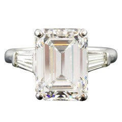 IMPORTANT 7.29cts H-VVS1 Emerald-Cut Diamond Platinum Ring