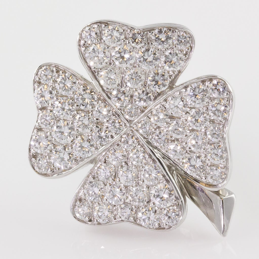 Fred Paris Diamond White Gold Four Leaf Clover Earrings At