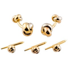 Cartier Trinity Three Color Gold Knot Cufflink Stud Set