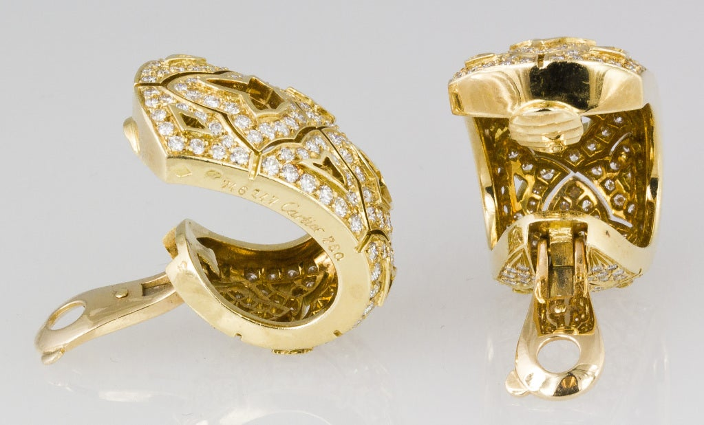 CARTIER Large Diamond and Gold Earrings 2