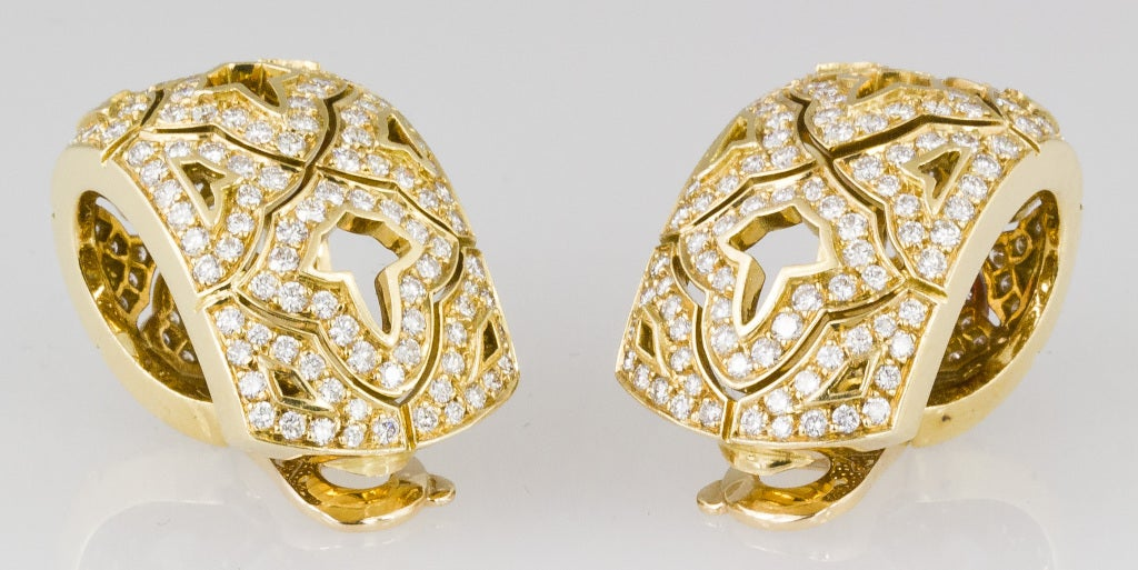 CARTIER Large Diamond and Gold Earrings 3