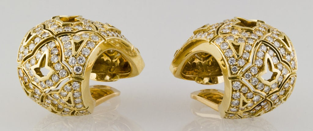 CARTIER Large Diamond and Gold Earrings 4