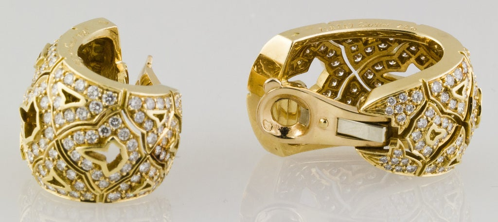 CARTIER Large Diamond and Gold Earrings 5