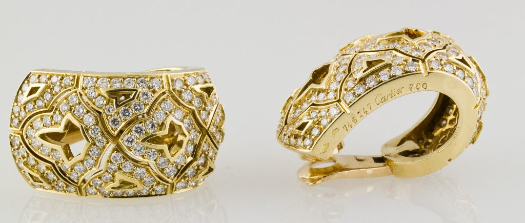 CARTIER Large Diamond and Gold Earrings 6