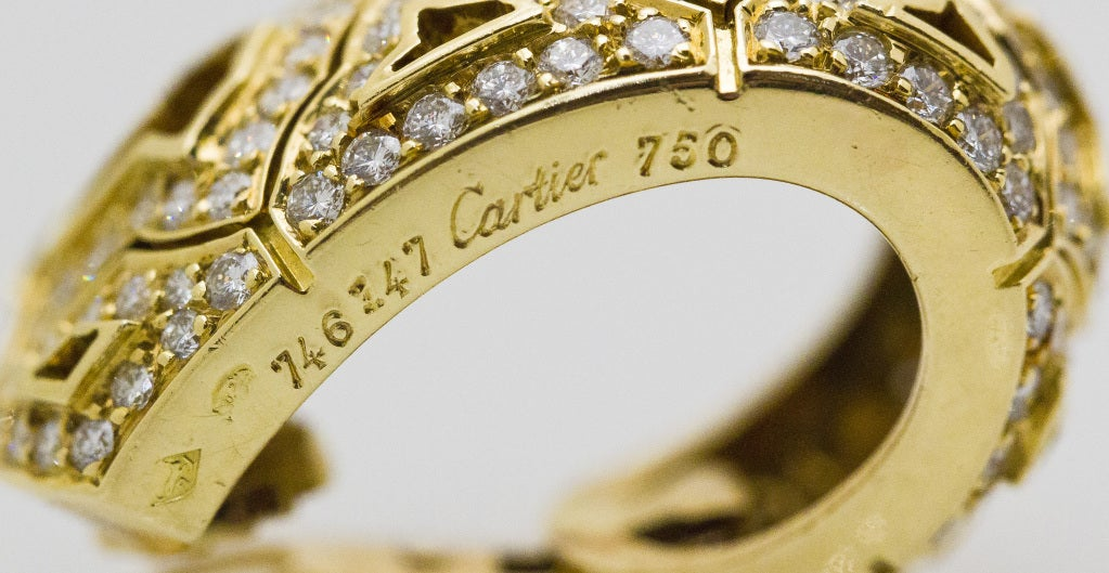 CARTIER Large Diamond and Gold Earrings 7