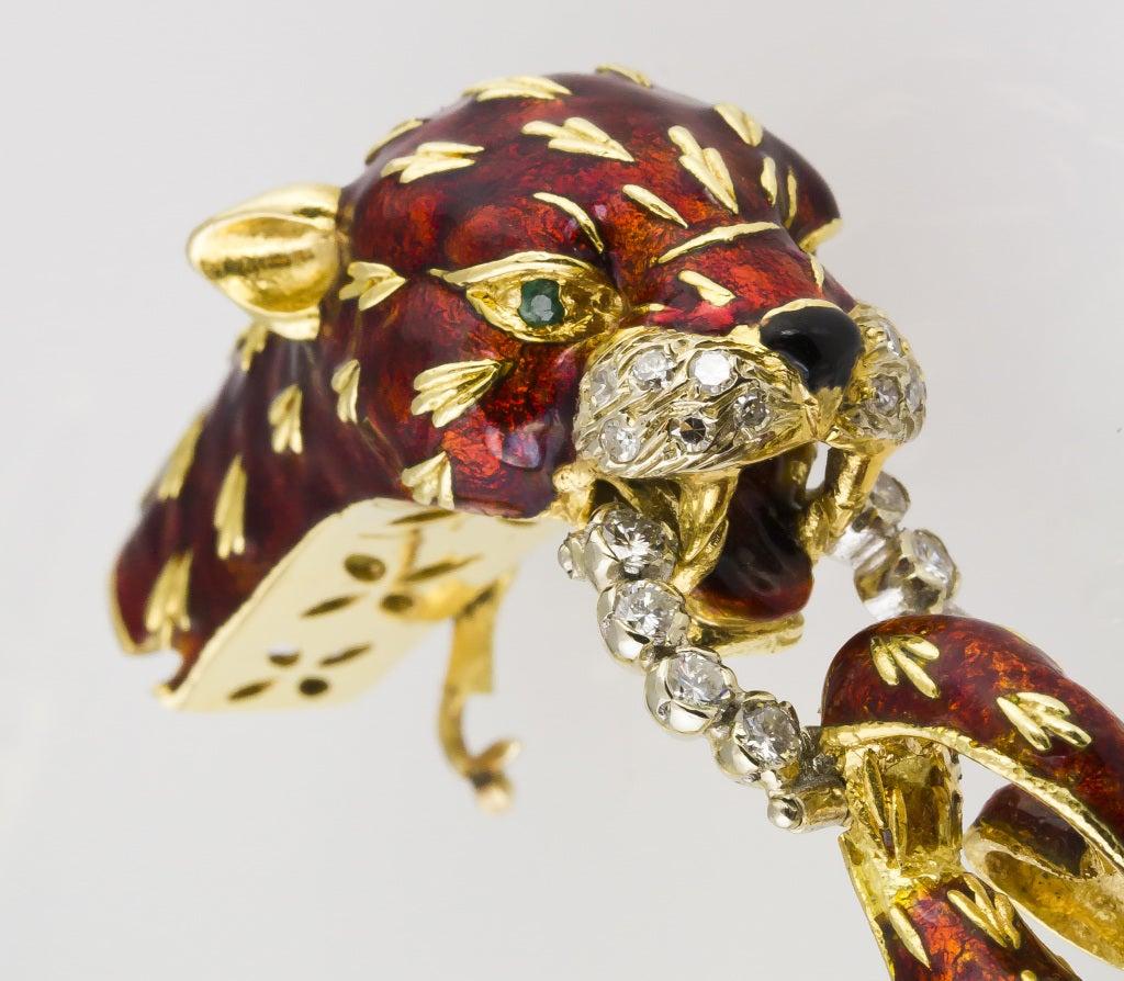 FRASCAROLO Gold Enamel Diamond Emerald Panther Bangle Bracelet image 4
