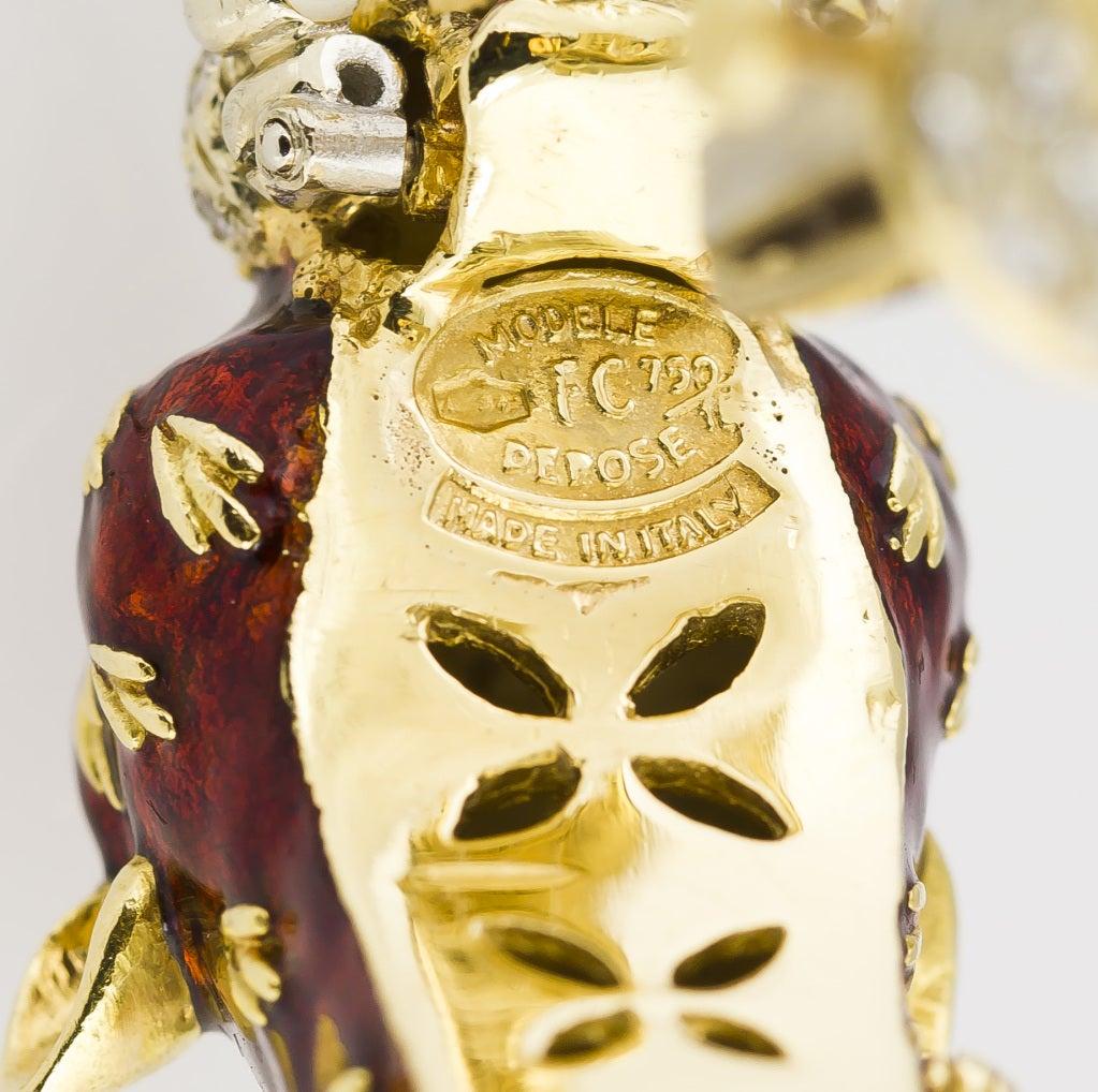 FRASCAROLO Gold Enamel Diamond Emerald Panther Bangle Bracelet image 5