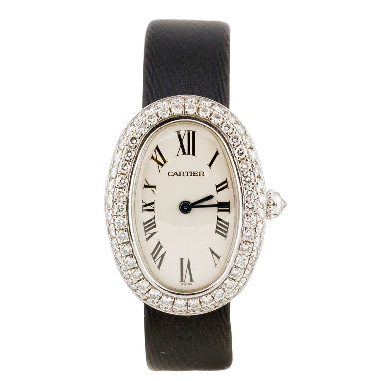 cartier baignoire diamond white gold womens wrist watch at. Black Bedroom Furniture Sets. Home Design Ideas