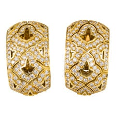 CARTIER Large Diamond and Gold Earrings