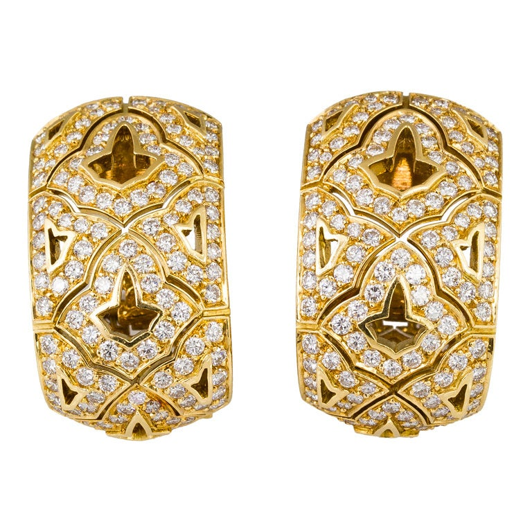 CARTIER Large Diamond and Gold Earrings 1