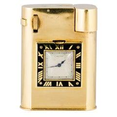 RARE CARTIER Art Deco Gold Watch Lighter