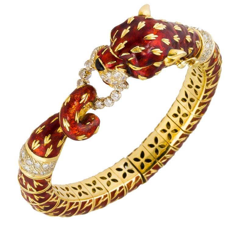 FRASCAROLO Gold Enamel Diamond Emerald Panther Bangle Bracelet