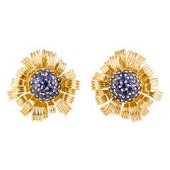 TIFFANY & CO. SCHLUMBERGER Dahlia Sapphire Gold Earrings
