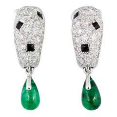 CARTIER PANTHERE Diamond Onyx Emerald Earrings