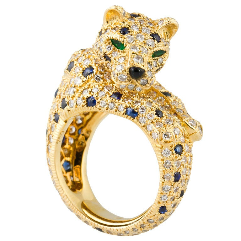CARTIER PANTHERE Rare Diamond Sapphire and Gold Ring For Sale at